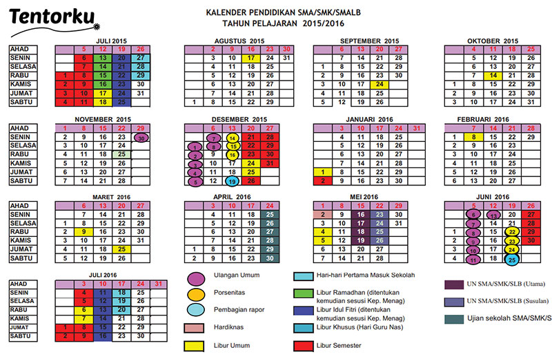Kalender Pendidikan SMA/SMK/SMALB 2016 | Photo by Tentorku (source ...